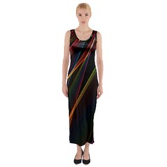 Rainbow Ribbons Fitted Maxi Dress