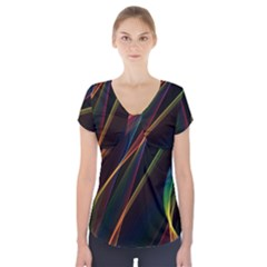 Rainbow Ribbons Short Sleeve Front Detail Top