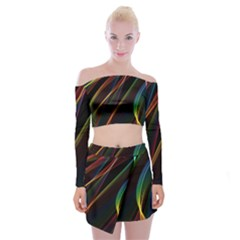 Rainbow Ribbons Off Shoulder Top With Skirt Set