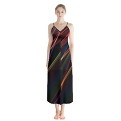 Rainbow Ribbons Button Up Chiffon Maxi Dress