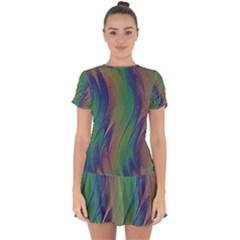 Texture Abstract Background Drop Hem Mini Chiffon Dress