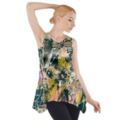 Art Graffiti Abstract Vintage Side Drop Tank Tunic