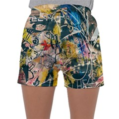 Art Graffiti Abstract Vintage Sleepwear Shorts