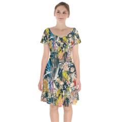 Art Graffiti Abstract Vintage Short Sleeve Bardot Dress