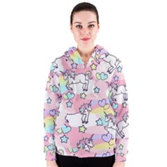 Unicorn Rainbow Women s Zipper Hoodie