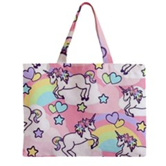Unicorn Rainbow Zipper Mini Tote Bag by Nexatart