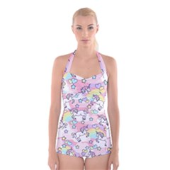 Unicorn Rainbow Boyleg Halter Swimsuit