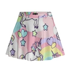 Unicorn Rainbow Mini Flare Skirt