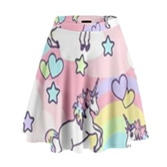 Unicorn Rainbow High Waist Skirt