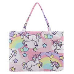Unicorn Rainbow Zipper Medium Tote Bag
