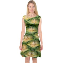 Pineapple Pattern Capsleeve Midi Dress