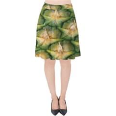 Pineapple Pattern Velvet High Waist Skirt