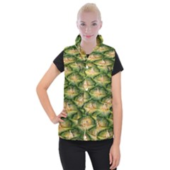Pineapple Pattern Women s Button Up Puffer Vest