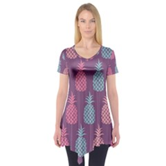 Pineapple Pattern Short Sleeve Tunic
