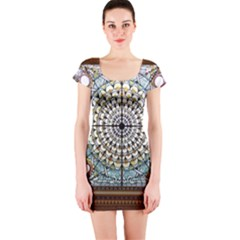 Stained Glass Window Library Of Congress Short Sleeve Bodycon Dress by Nexatart