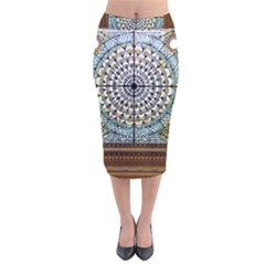 Stained Glass Window Library Of Congress Velvet Midi Pencil Skirt by Nexatart