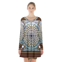 Stained Glass Window Library Of Congress Long Sleeve Velvet V Neck Dress