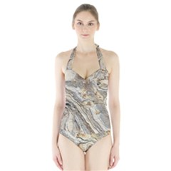 Background Structure Abstract Grain Marble Texture Halter Swimsuit