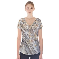 Background Structure Abstract Grain Marble Texture Short Sleeve Front Detail Top
