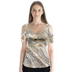 Background Structure Abstract Grain Marble Texture Butterfly Sleeve Cutout Tee