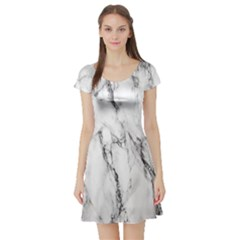 Marble Granite Pattern And Texture Short Sleeve Skater Dress
