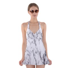 Marble Granite Pattern And Texture Halter Swimsuit Dress