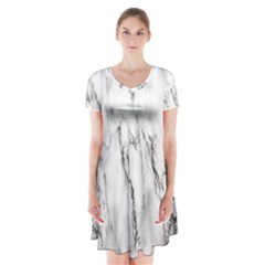 Marble Granite Pattern And Texture Short Sleeve V Neck Flare Dress