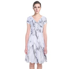 Marble Granite Pattern And Texture Short Sleeve Front Wrap Dress