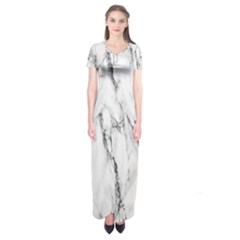 Marble Granite Pattern And Texture Short Sleeve Maxi Dress