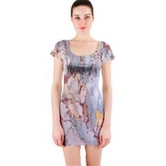 Marble Pattern Short Sleeve Bodycon Dress