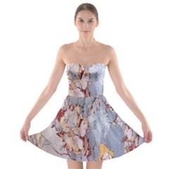 Marble Pattern Strapless Bra Top Dress