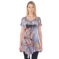 Marble Pattern Short Sleeve Tunic