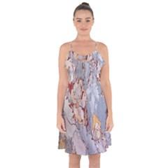 Marble Pattern Ruffle Detail Chiffon Dress