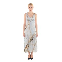 Marble Texture White Pattern Surface Effect Sleeveless Maxi Dress