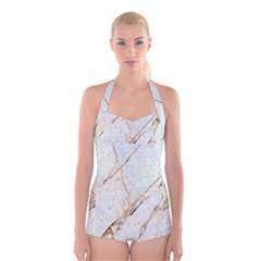Marble Texture White Pattern Surface Effect Boyleg Halter Swimsuit