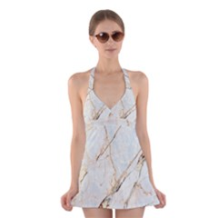 Marble Texture White Pattern Surface Effect Halter Swimsuit Dress