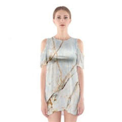 Marble Texture White Pattern Surface Effect Shoulder Cutout One Piece