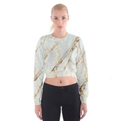 Marble Texture White Pattern Surface Effect Cropped Sweatshirt
