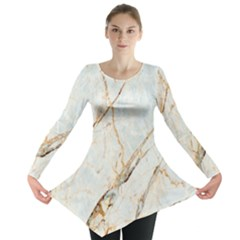 Marble Texture White Pattern Surface Effect Long Sleeve Tunic