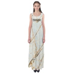 Marble Texture White Pattern Surface Effect Empire Waist Maxi Dress