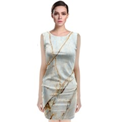 Marble Texture White Pattern Surface Effect Classic Sleeveless Midi Dress