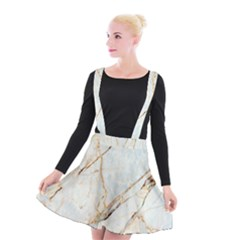 Marble Texture White Pattern Surface Effect Suspender Skater Skirt