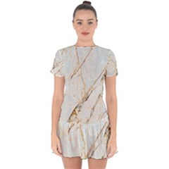 Marble Texture White Pattern Surface Effect Drop Hem Mini Chiffon Dress