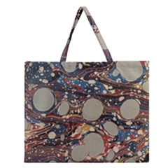 Marbling Zipper Large Tote Bag