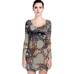 Marbling Long Sleeve Velvet Bodycon Dress