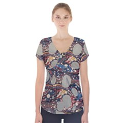 Marbling Short Sleeve Front Detail Top