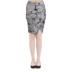 Slate Marble Texture Midi Wrap Pencil Skirt