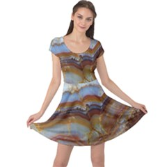 Wall Marble Pattern Texture Cap Sleeve Dress
