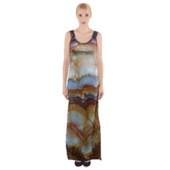 Wall Marble Pattern Texture Maxi Thigh Split Dress
