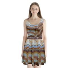 Wall Marble Pattern Texture Split Back Mini Dress